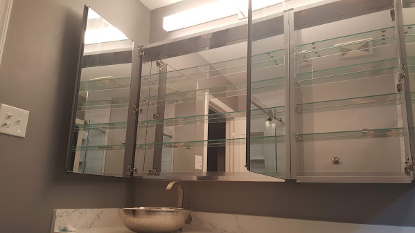 Great 60 x 36 mirrored medicine cabinet with vessel sink