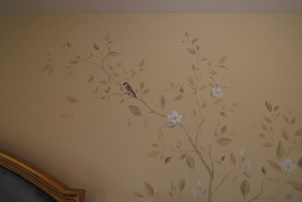 Asian bird in magnolia tree specialty painting