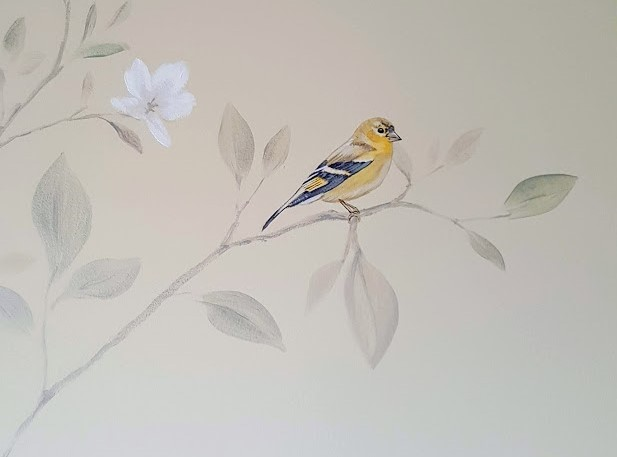 Gold finch in magnolia branches