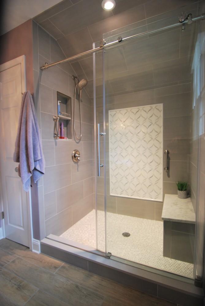 Gray white custom shower arabesque picture frame