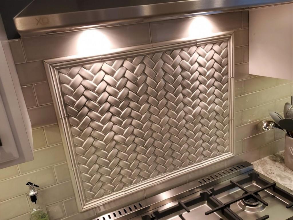 Stella basket weave tile picture frame over range
