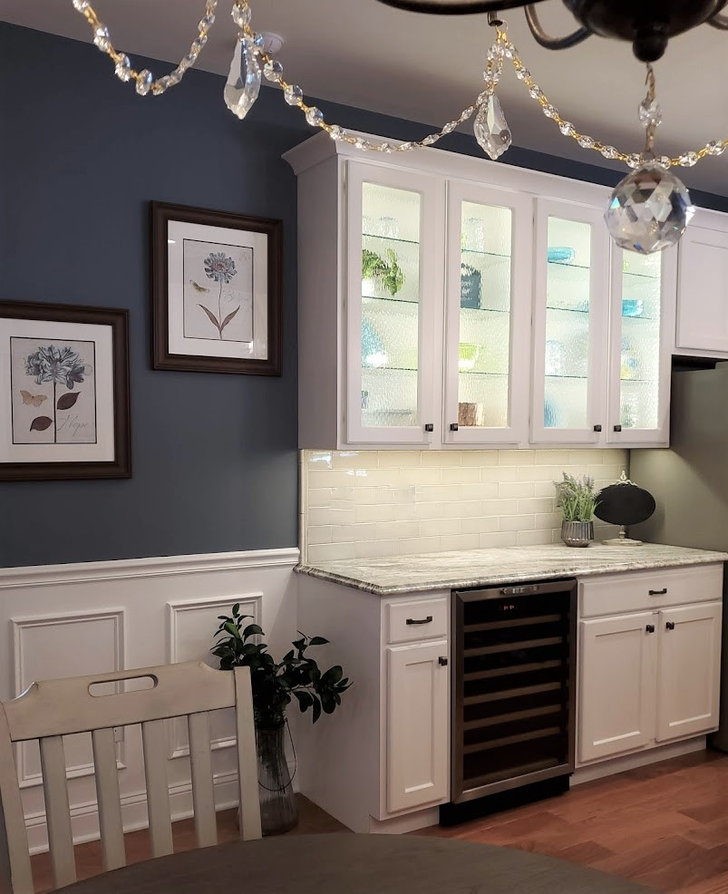 White refaced kitchen magic ripple glass cabinets