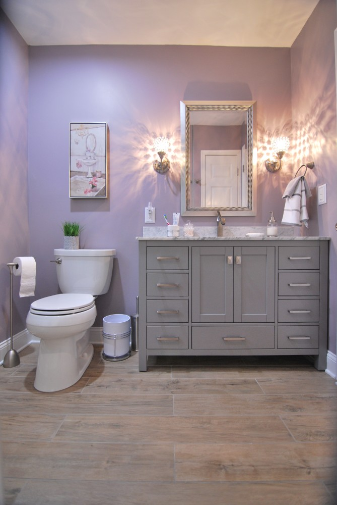 Grey White Lavendar Bath Wood Plank Floor | Cherry Hill NJ | Distinctive Interior Designs