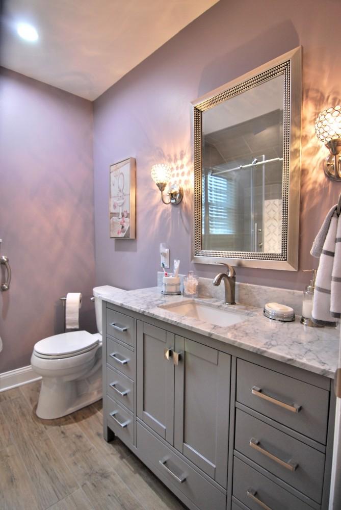 grey white lavendar bath with glitz