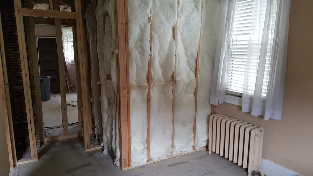 Bump out in back bedroom where masterbath was added