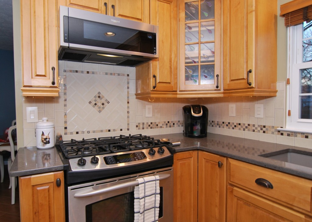 Kitchen Honey maple cabinets babylon quartz whirlpool low provile microwave
