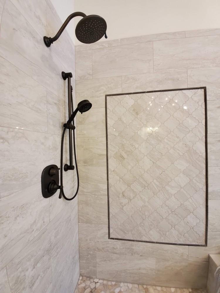 Master Shower details arabesque tile oil rubbed bronze