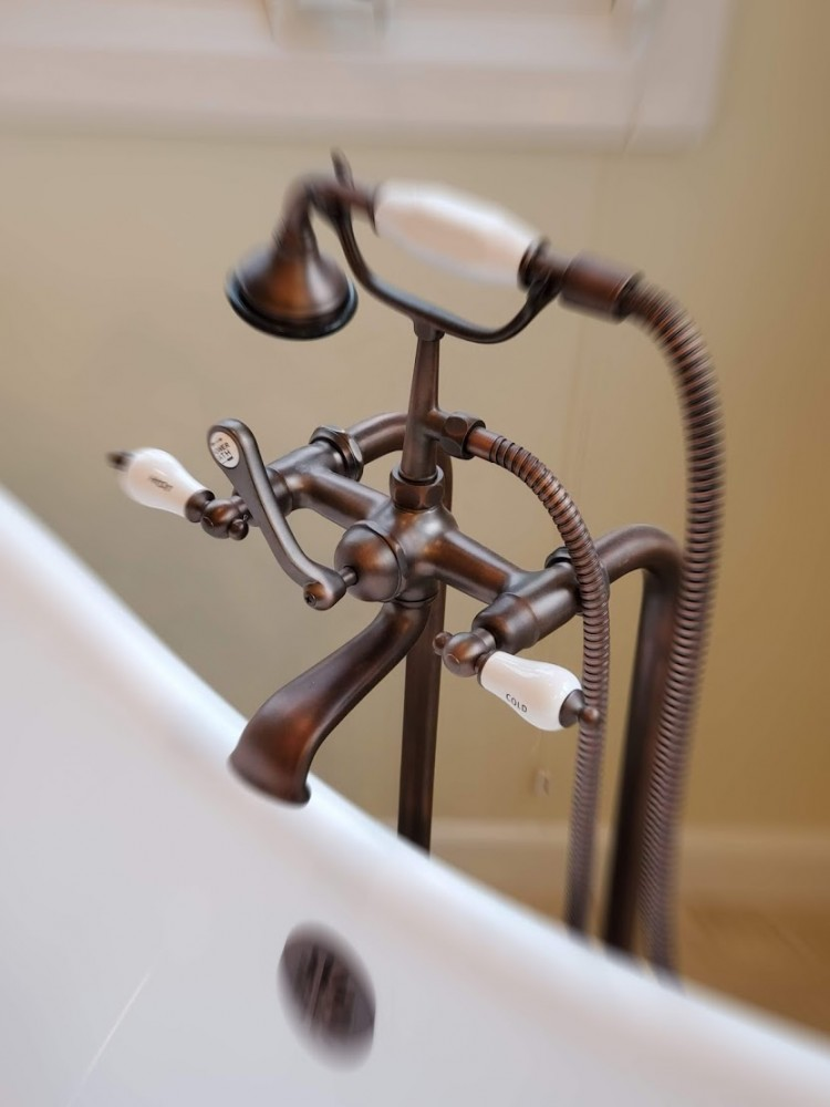 Master bath Telephone style oil rubbed bronze tub faucet