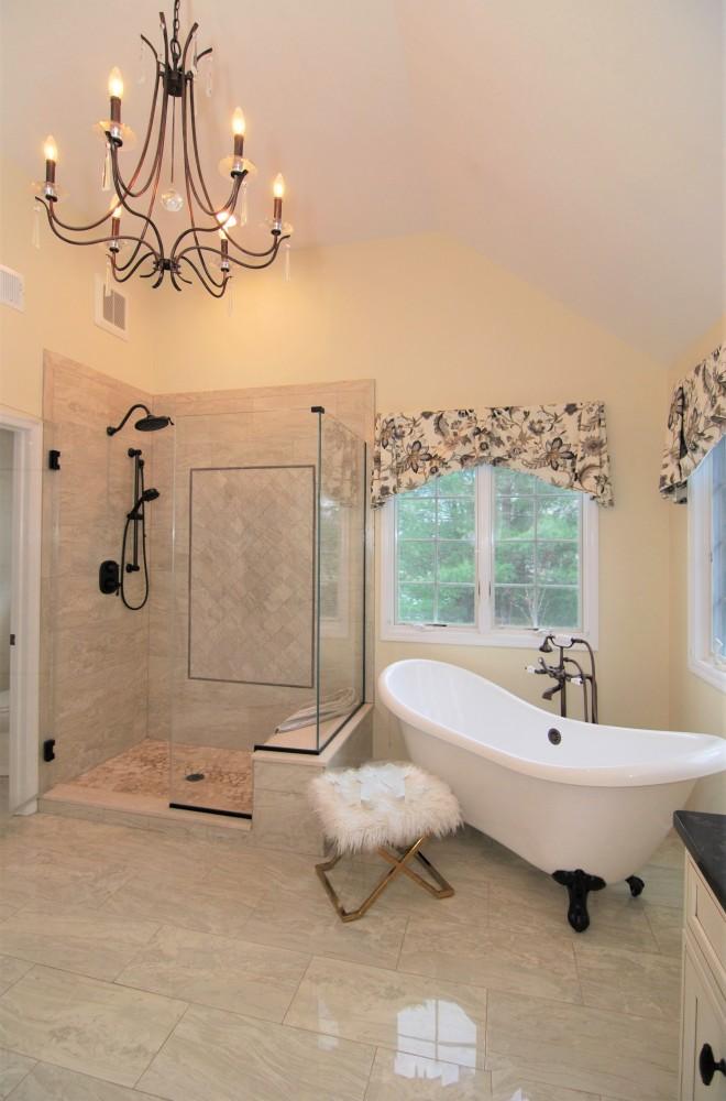 Masterbath custom shower and Elegant claw foot tub