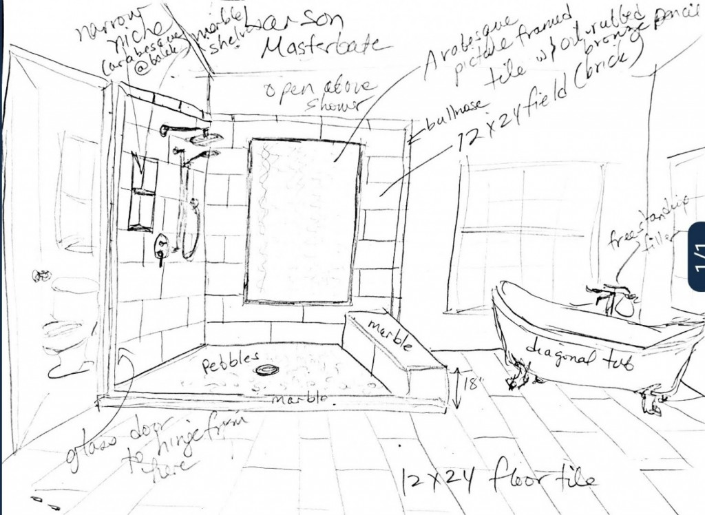 Sketch for new master tub and shower