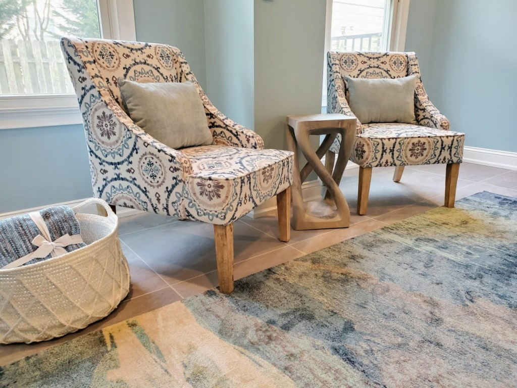 Pier 1 blue and white suzani accent chairs with Haussman Vine twist stool