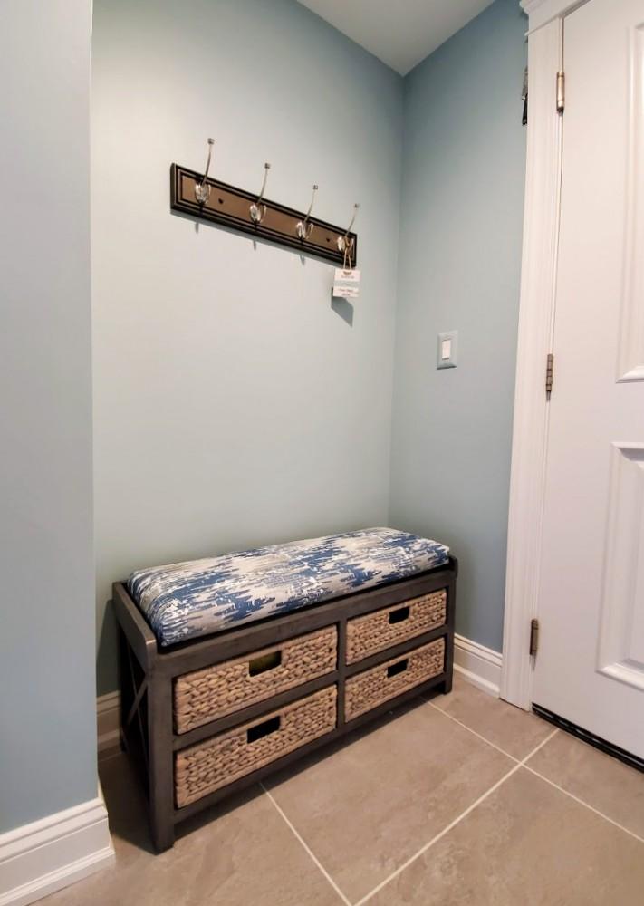 Raleigh 4 basket storage drawer bench with cushion