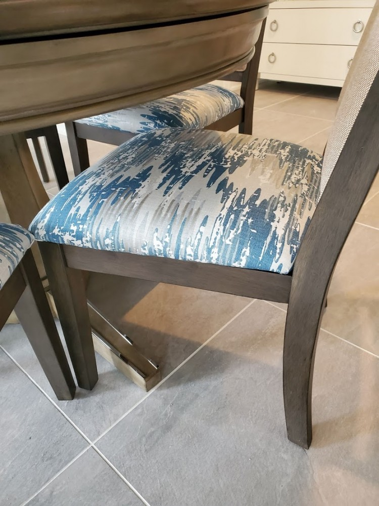 Raymour Flannigan Eastlane Slat back chairs with kravet fabric on seat