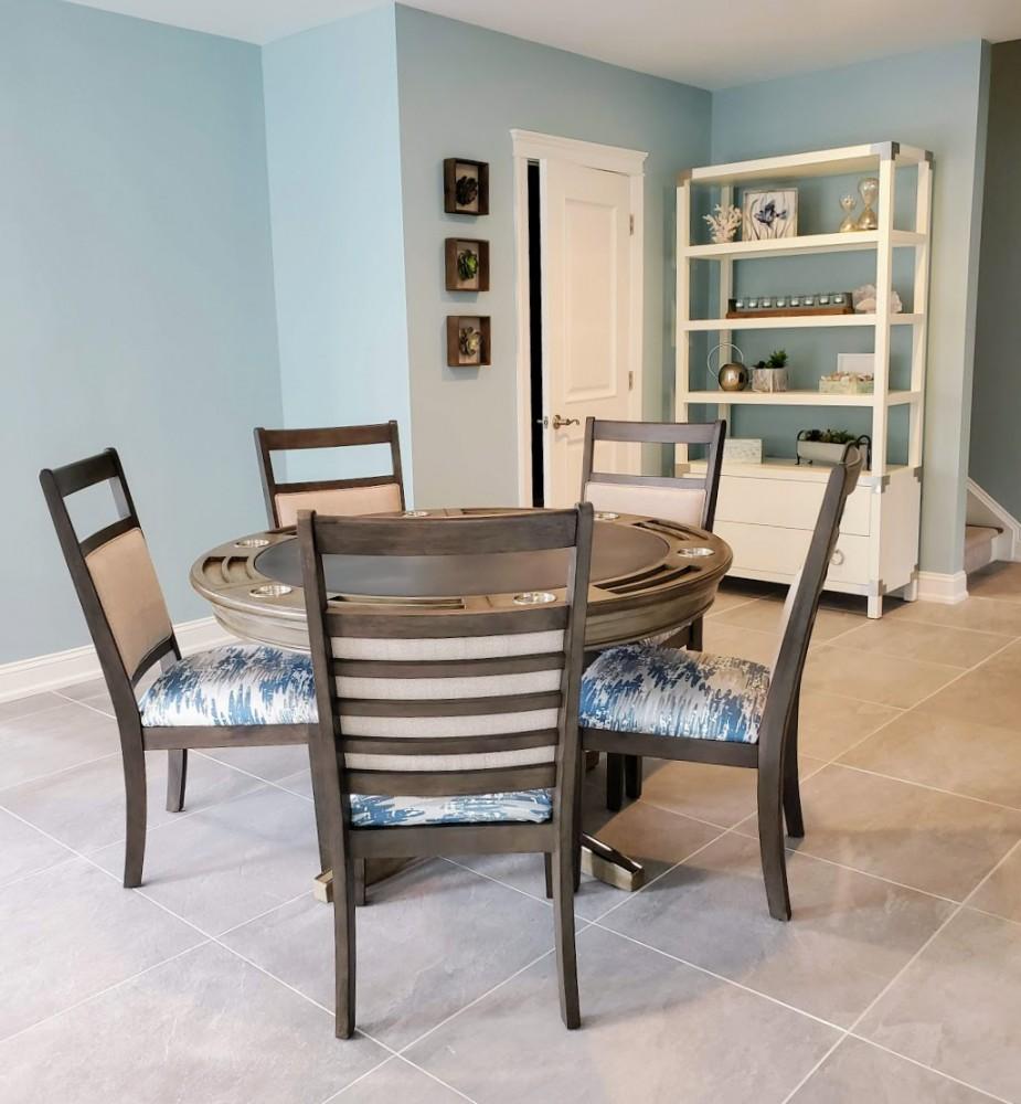 Wayfair Yelena gray reversible poker table with RF Eastlane chairs