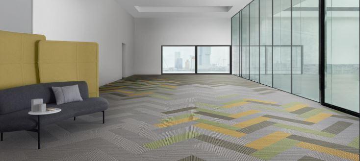 Carpet tile with corporate color design