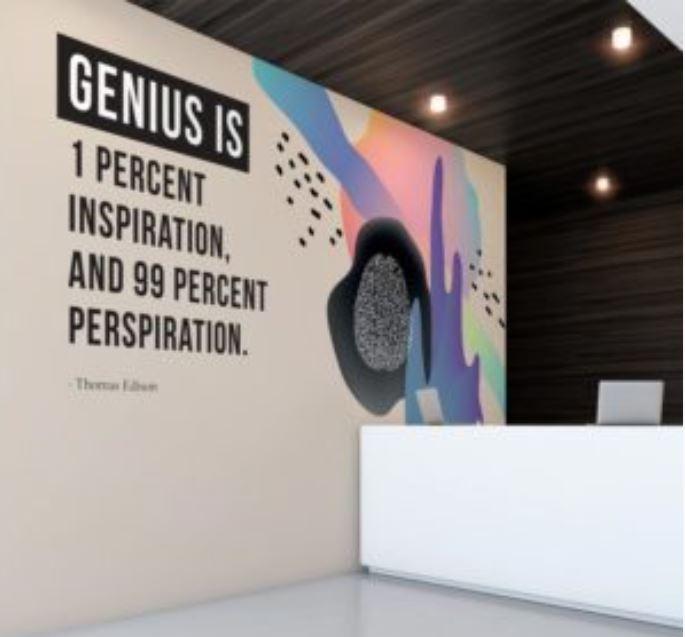 Corporate message on vinyl wallpaper