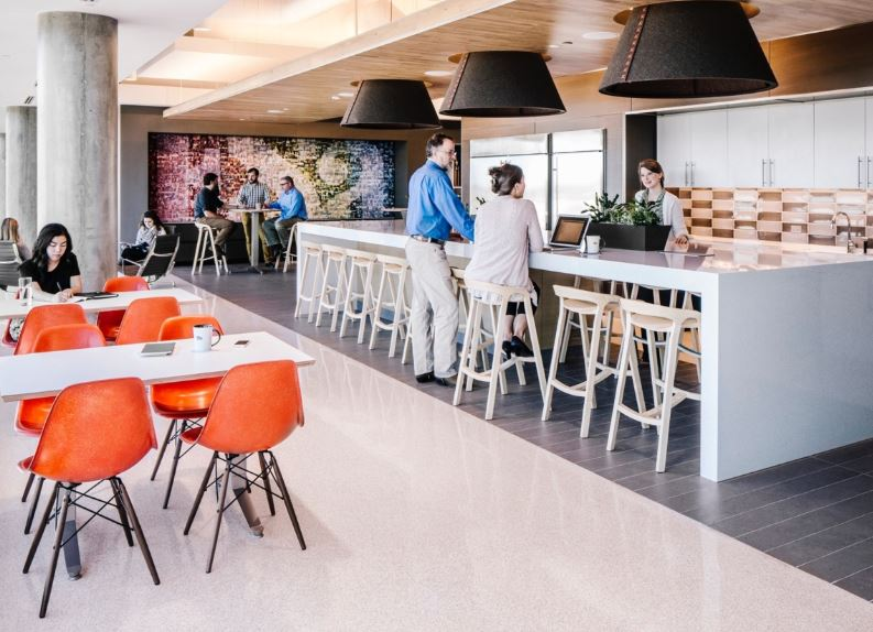 Flex space cafe in office space