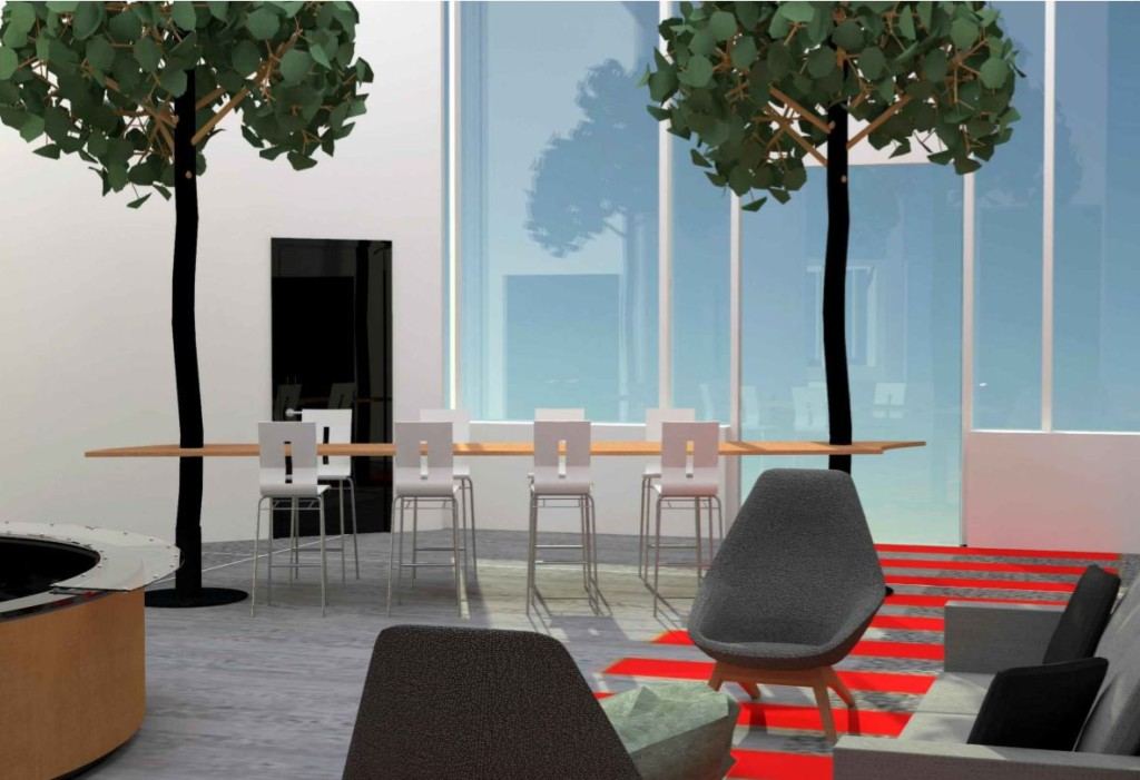 Lobby with acoustic trees and wave table seating