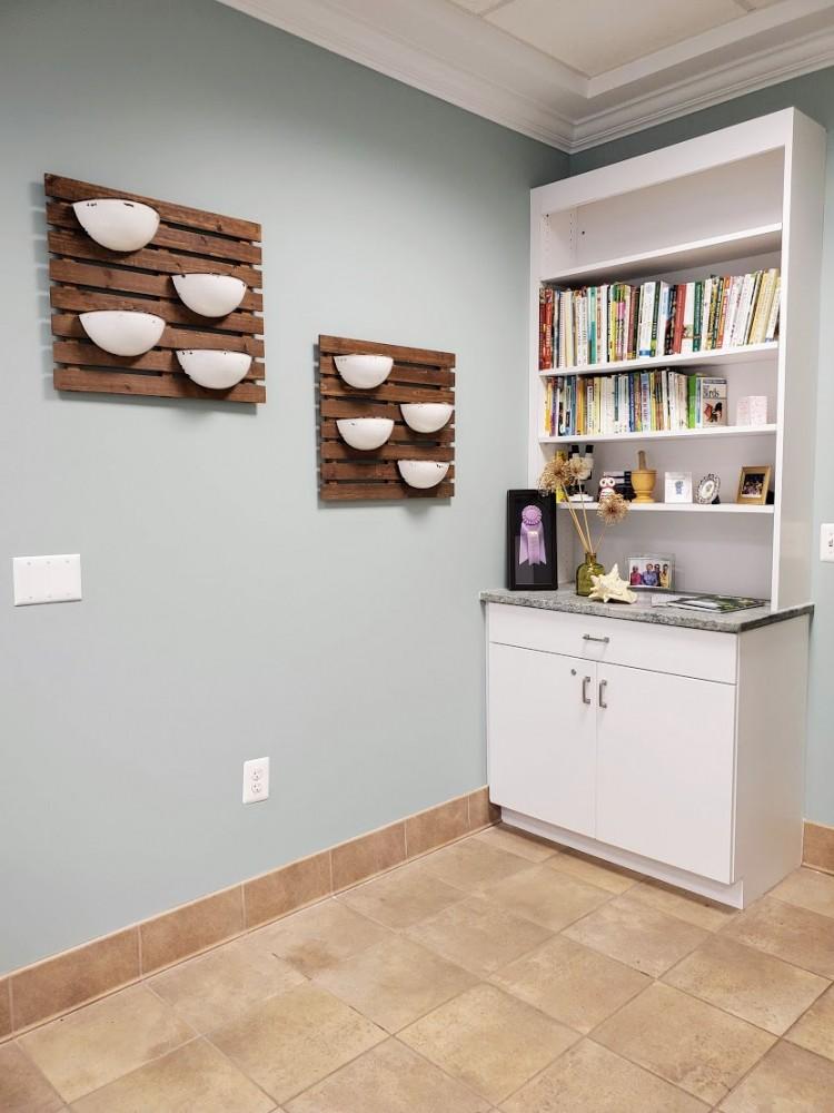 New bookcase cabinet with Costa Esmeralda counter integrated
