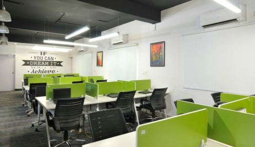 green and gray open space commercial design