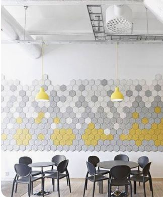 yellow grey hexagon acoustic design