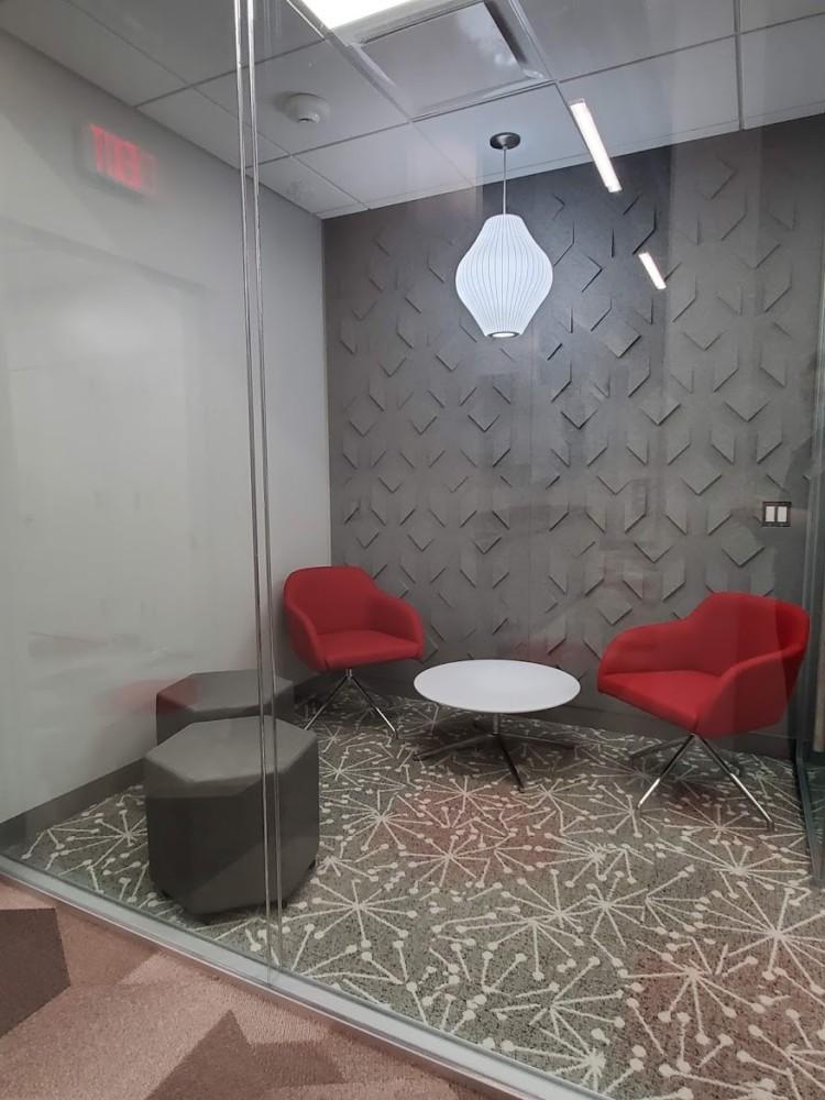 Huddle room and Acoustic wall texture   Distinctive Interior Designs   Cranbury NJ