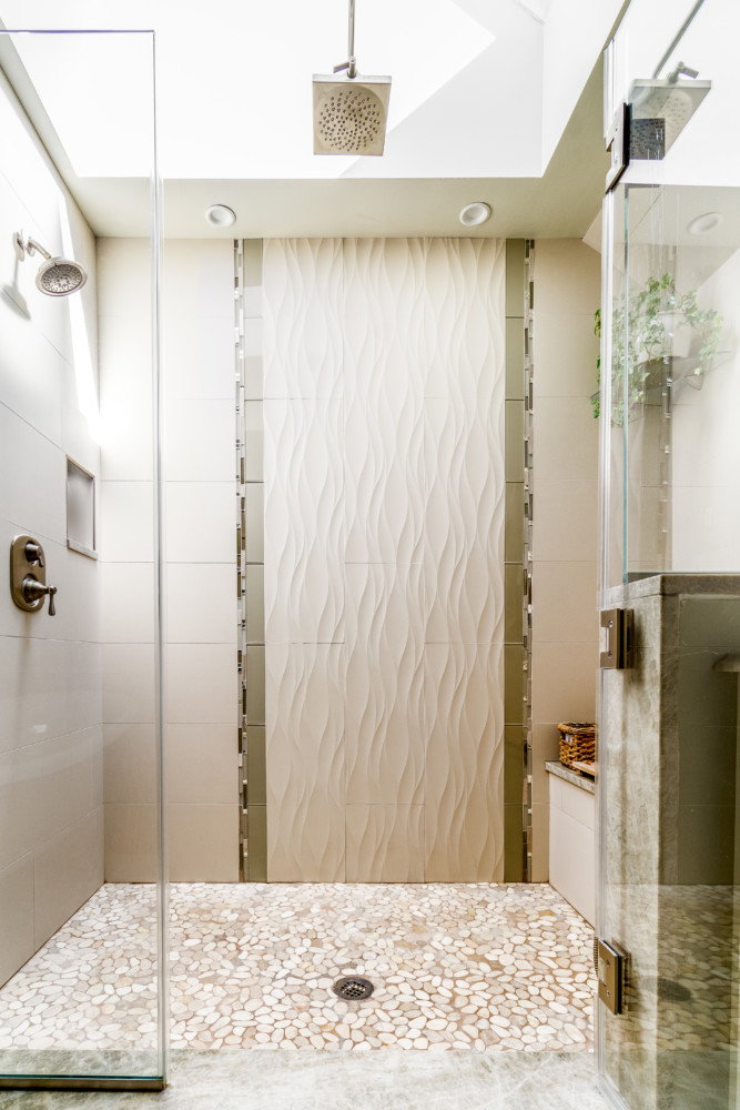 Spa Bath wave, pebble and glass subway tile accenting
