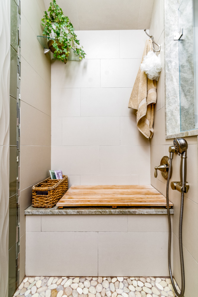 Spa Custom Shower with teak bench and handheld