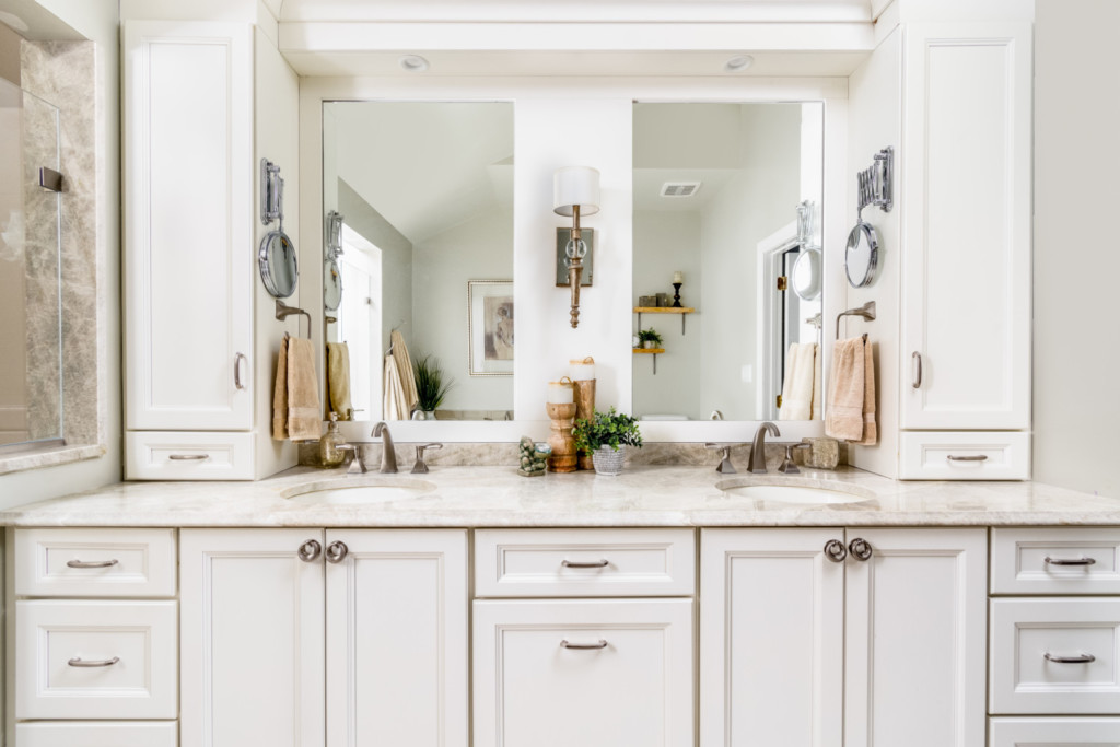 Spa Double Vanity with bridge lighting and Laundry pullout