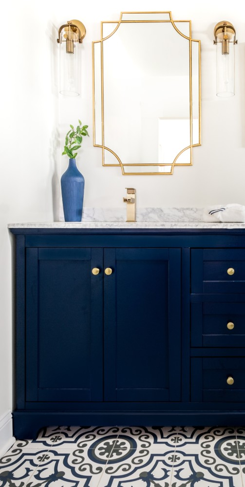 Navy and gold Vanity vertical