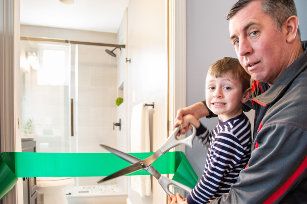 Ribbon Cutting of Private Bath for Mom
