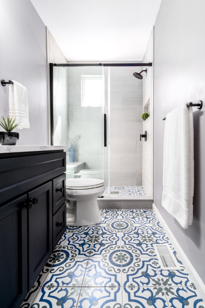 Transtional Painted Tile Private Bath with Matte Black