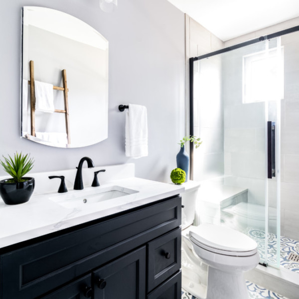 Transtional Painted Tile Private Bath | Marlton NJ | Distinctive Interior Designs