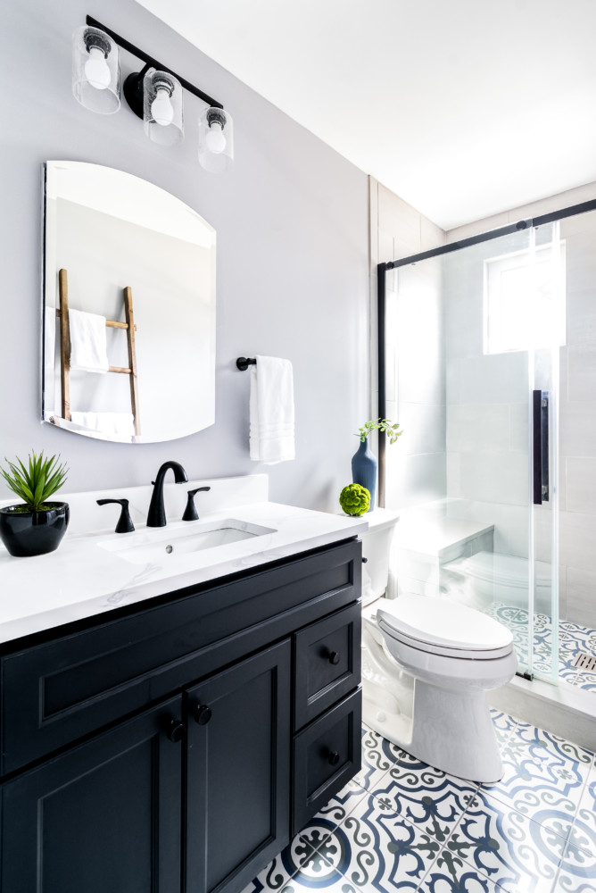 Transtional Painted Tile Private Bath