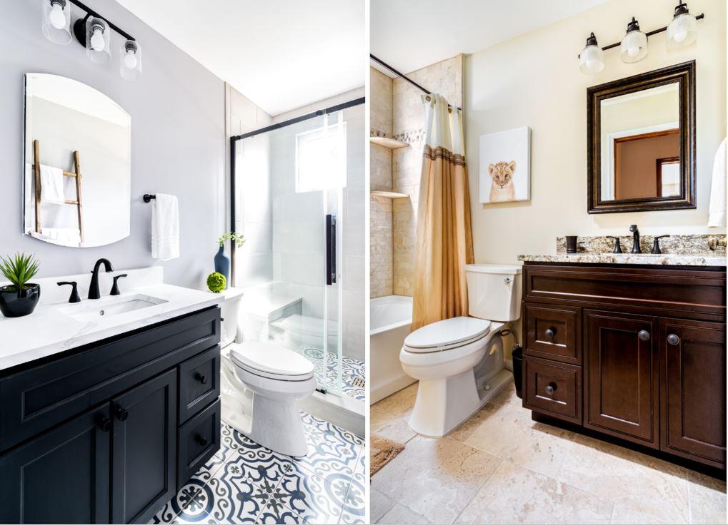 2 Baths Created from 1   Marlton NJ   Distinctive Interior Designs